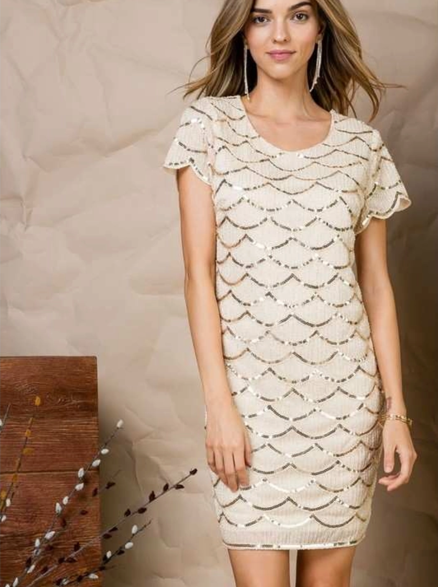 MAIN STRIP WAVE SEQUIN DRESS