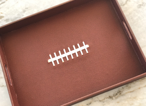 BASKETS LEATHER FOOTBALL SERVING TRAY