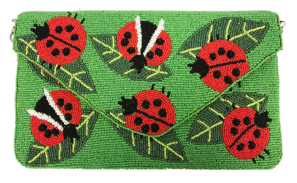 RICKI BEADED LADYBUG CLUTCH WITH STRAP