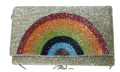 RICKI RAINBOW BEADED CLUTCH WITH CHAIN STRAP