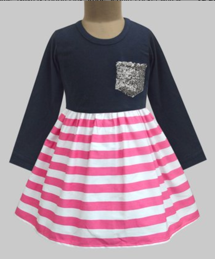 ATUN PINK STRIPE SEQUIN POCKET DRESS