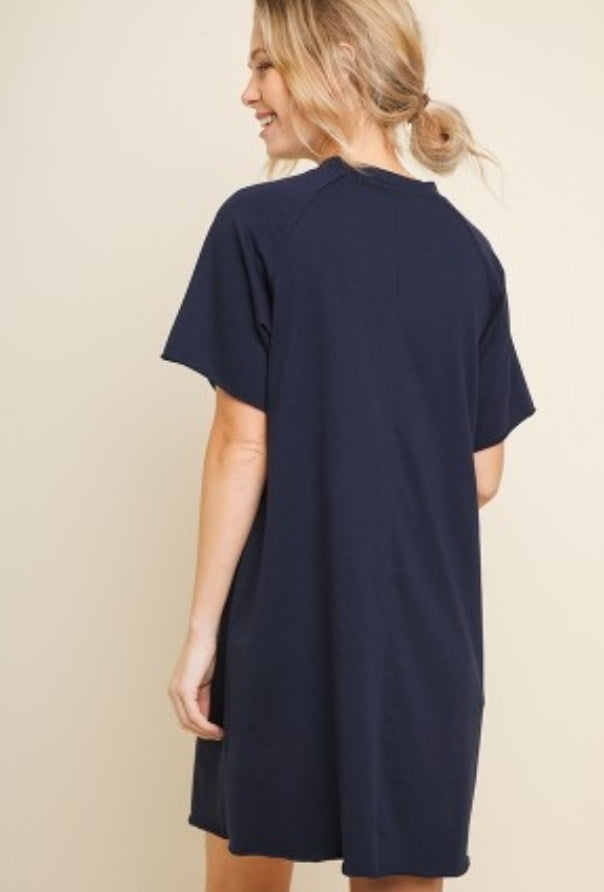 UMGEE TEE DRESS WITH A DRAWSTRING NECKLINE
