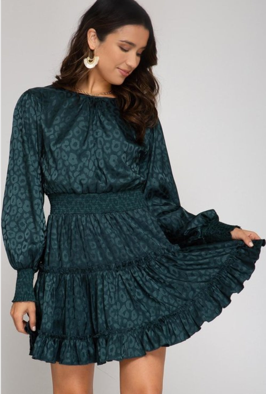 SUNLIGHT SEA GREEN LONG SLEEVE DRESS