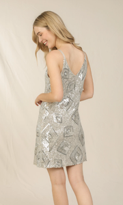 SKIES ARE BLUE SEQUIN DIAMOND DRESS
