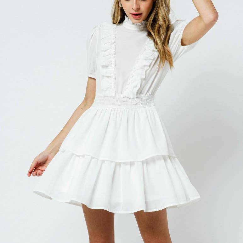 D'LITEFUL WHITE MOCK NECK DRESS