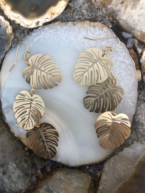 BEST OF EVERYTHING BANANA LEAF DROP EARRING