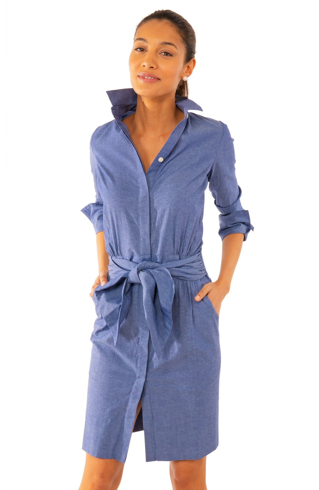 GRETCHEN SCOTT BREEZY BLOUSAON CHAMBRAY DRESS