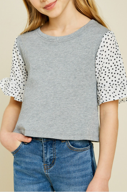 HAYDEN FRENCH TERRY STAR SLEEVE TOP