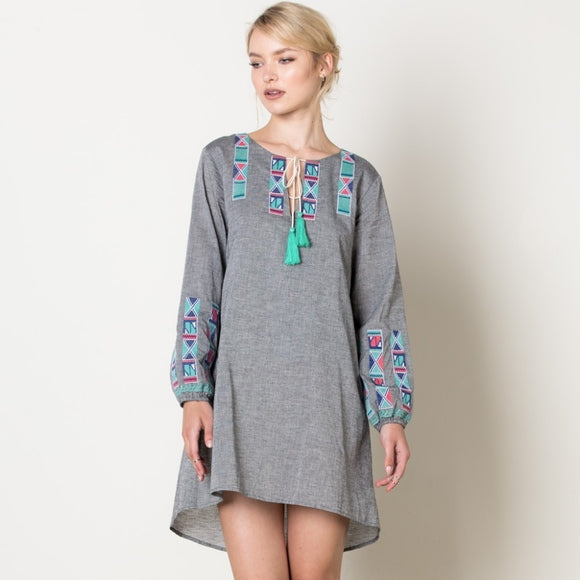 THML LONG SLEEVED EMBROIDERED PEASANT DRESS