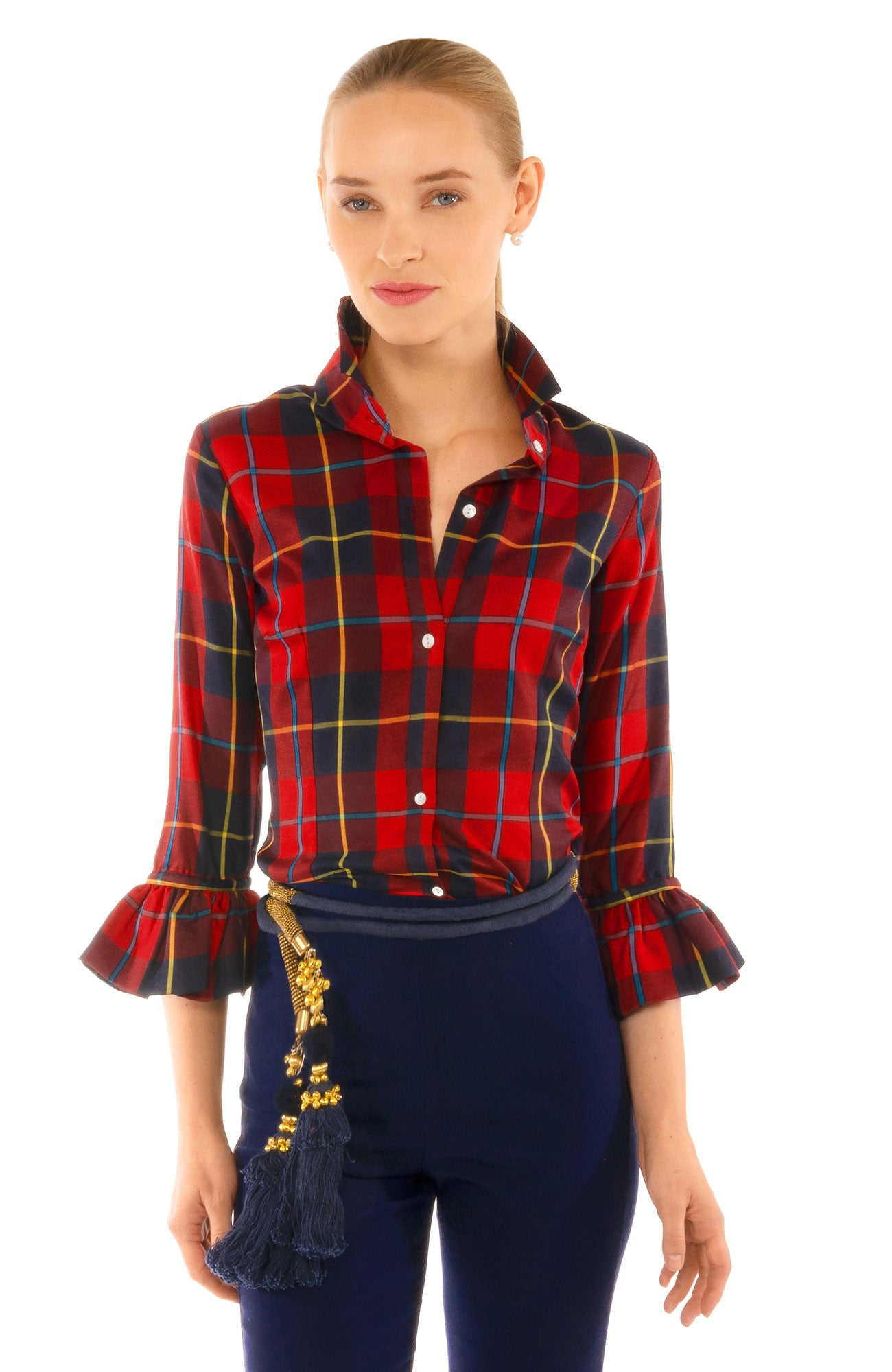 GRETCHEN SCOTT PRISS PLAIDLY COOPER BLOUSE