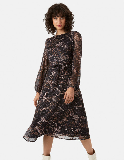 TRAFFIC PEOPLE METALLIC ANIMAL PRINT DRESS