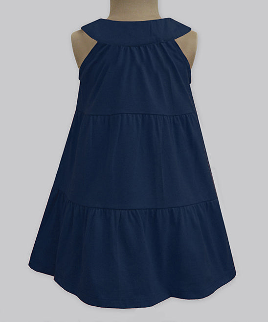 ATUN NAVY & RED STRIPE YOKE DRESS