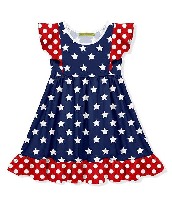 MILLIE LOVES LILY NAVY STAR & RED DOT DRESS