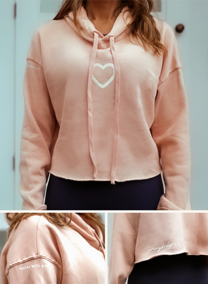 Super soft crop top hoodie… in Everybody Water Blush…