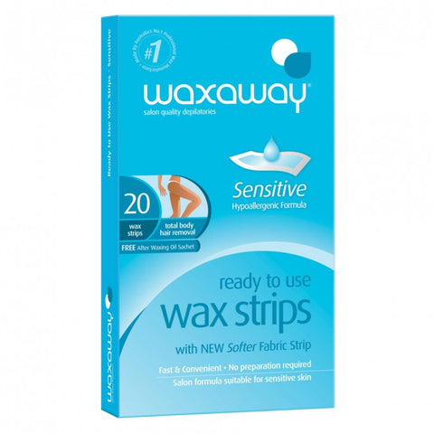 Waxaway Sensitive Ready to Use Body Wax Strips 20pk