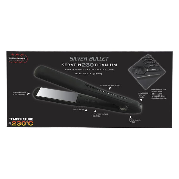 Silver Bullet Keratin 230 Titanium Hair Straightener - 38mm Wide Plate-Silver Bullet-Beautopia Hair & Beauty