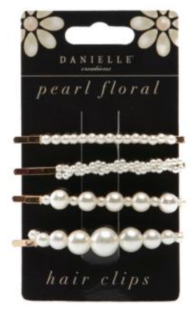 Danielle Creations Pearl Floral Hair Clips 4 Piece