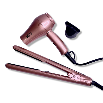 H2D Linear 11 Rose Gold Hair Straightener and Travel Dry Set - Beautopia Hair & Beauty