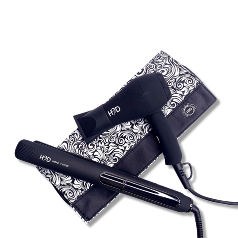 H2D Linear 11 Matte Black Hair Straightener and Travel Dry Set-H2D-Beautopia Hair & Beauty