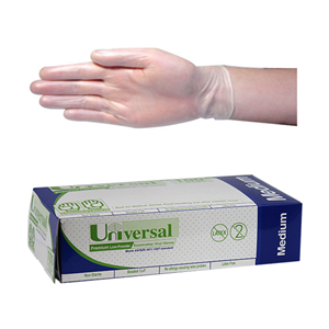 Universal Clear Latex Glove Medium 100pk
