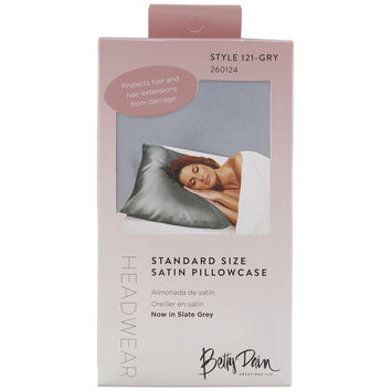 Betty Dain Standard Satin Pillow Case Grey