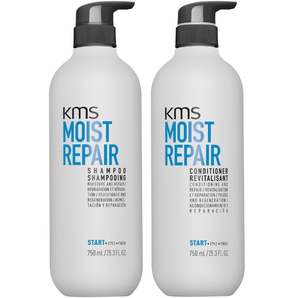 KMS Moist Repair Shampoo and Conditioner 750ml Duo Pack