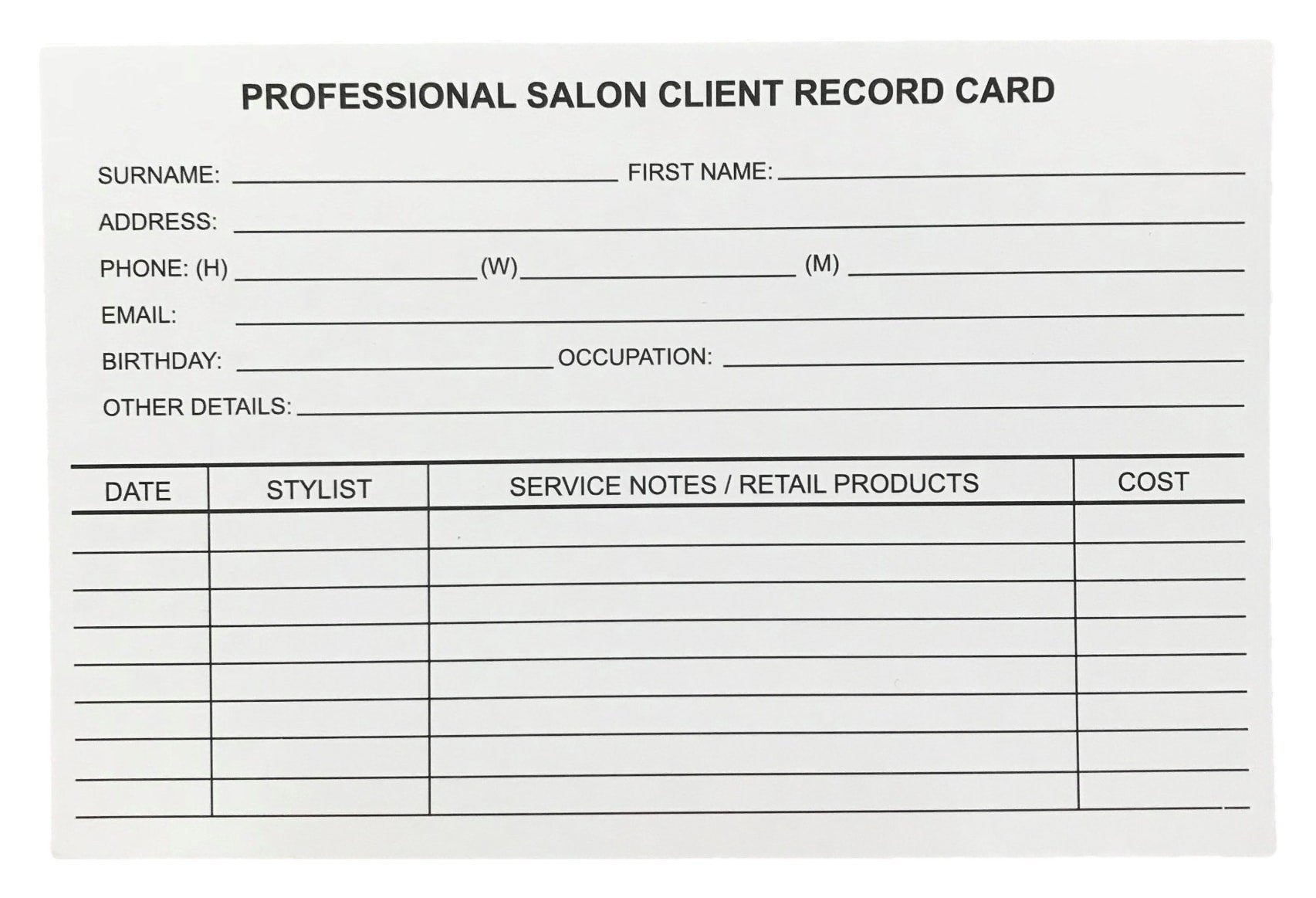 Salon Record Cards-Beautopia Hair & Beauty Supplies-Beautopia Hair & Beauty
