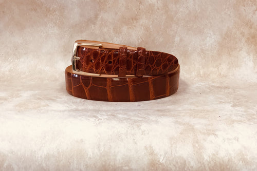 Alligator Belt, Cognac 1 3/8