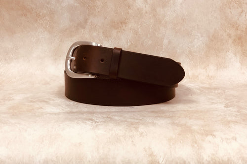 Hand Polished Saddle Leather Belt, Brown  1 1/2