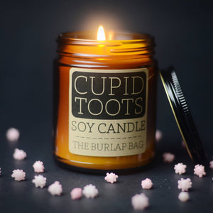 The Burlap Bag - Cupid Toots 9oz soy candle - LIMITED EDITION - The Sock Dudes