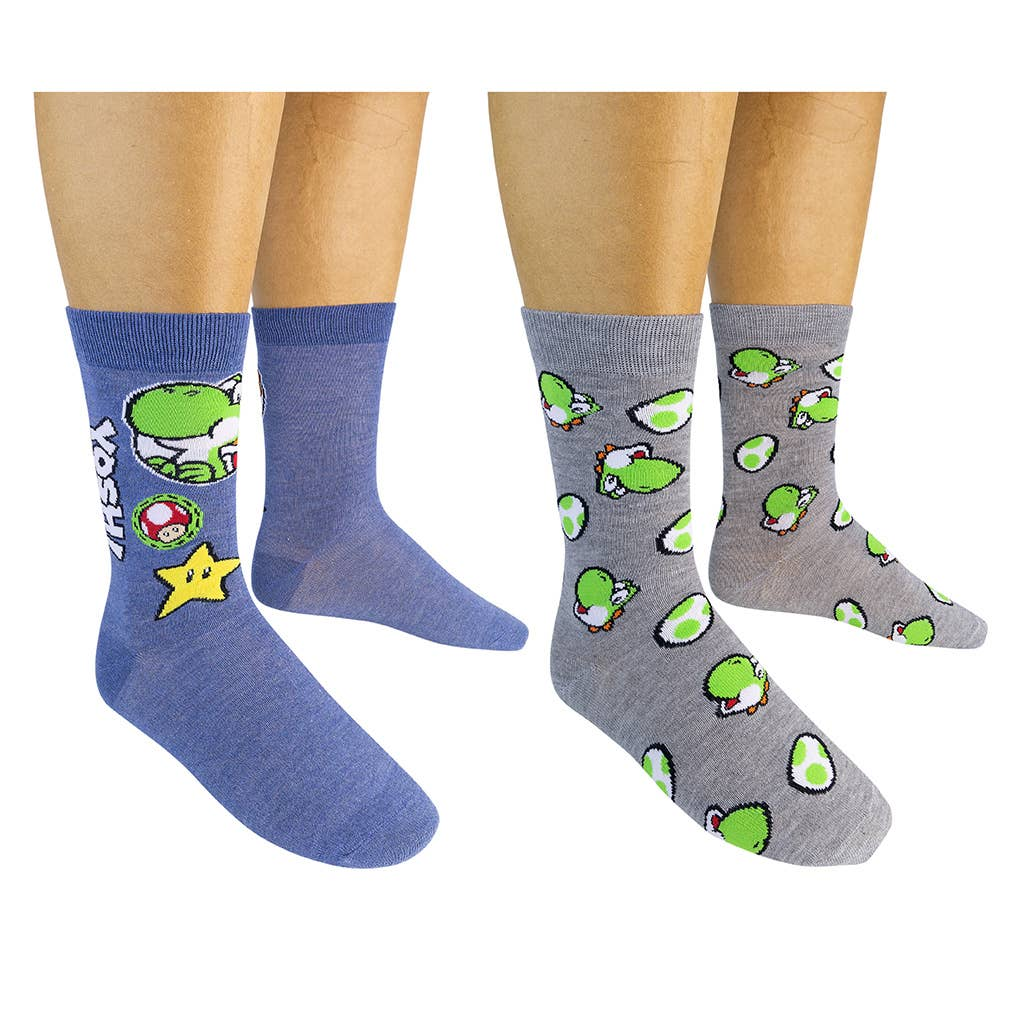Funatic Socks - SUPER MARIO - YOSHI Socks (2-pk) - The Sock Dudes