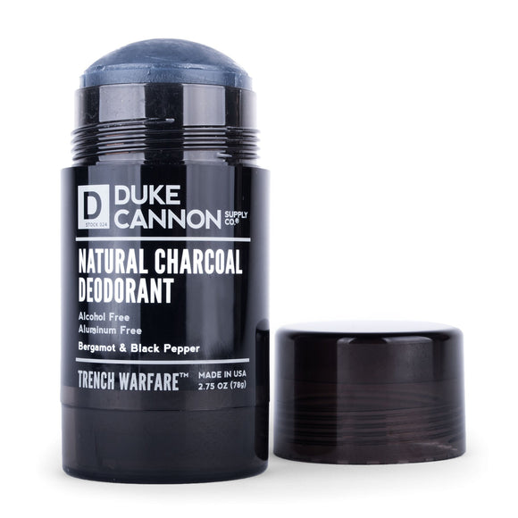 Duke Cannon - TRENCH WARFARE NATURAL CHARCOAL DEO(BERGAMOT & BLACK PEPPER) - The Sock Dudes