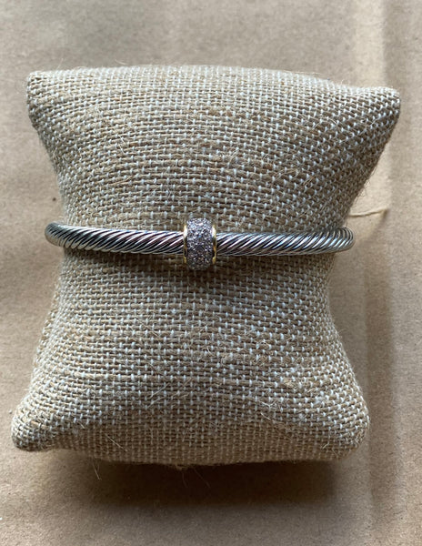 Cable Wire Cuff Bracelet with Center Pave Stone