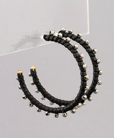 Leather and Beaded Hoops