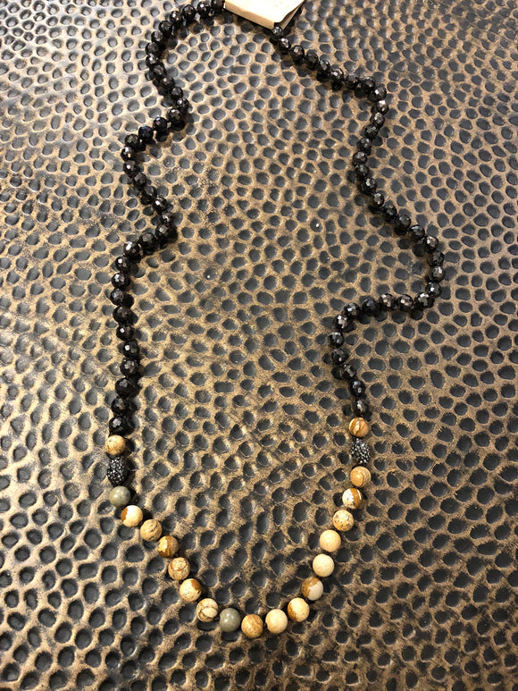Pave Ball and Stone Necklace