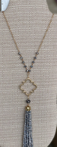 Beaded Quatrefoil Necklace