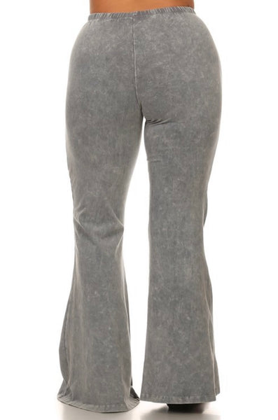Curvy Mineral Wash Bell Bottom Pants