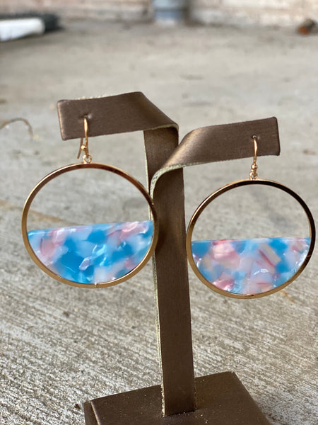 Half Acrylic Circle Earrings