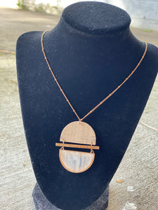 Half Disc & Cork Necklace