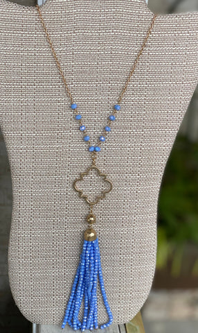 Quatrefoil Bead Tassel Necklace