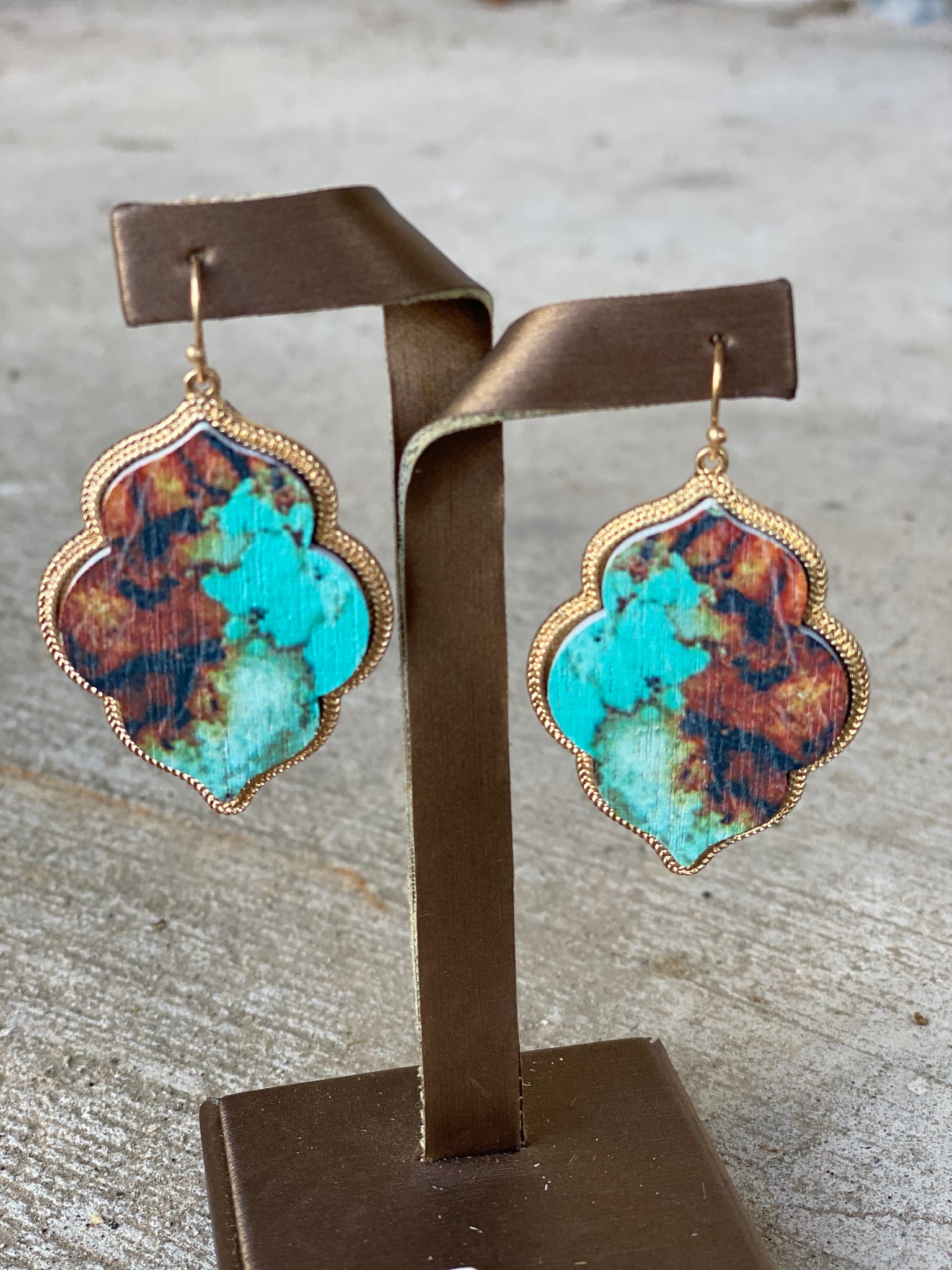 Teal Wooden Arabesque Earrings