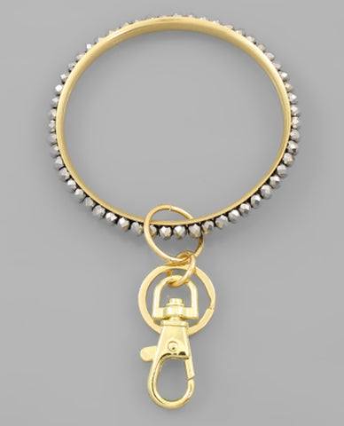 Glass Bead Key Ring Bracelet
