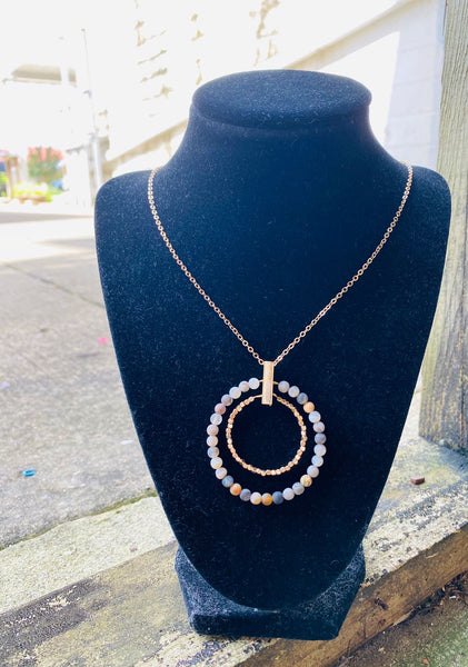 Double Bead Circle Necklace