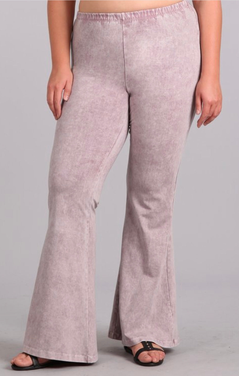 Mineral Wash Flare Pants- Light Pink