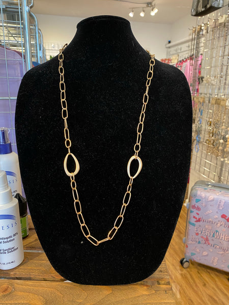 Oval and Chain Necklace