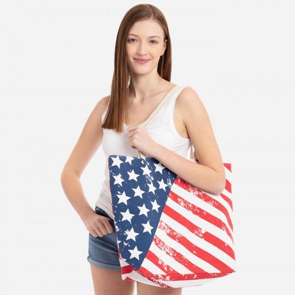Distressed American Flag Beach Bag