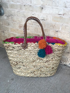Straw Bag with a Rainbow Colored Accents - The Sock Dudes