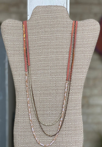 Leather and Bead Layer Necklace