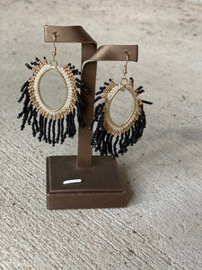 Bead Tassel Marquise Earrings