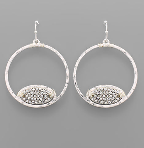 Pave Oval and Circle Earrings